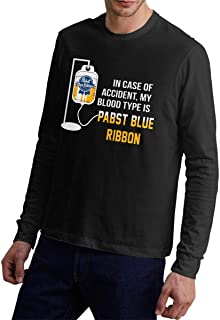 Mans in Case of Accident My Blood Type is Pabst Blue Ribbon Adult Long Sleeve T-Shirt