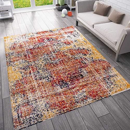 VIMODA Moderner Vintage Look Teppich Orientalisch Meliert, Farbe:Cooper, Maße:200x280 cm