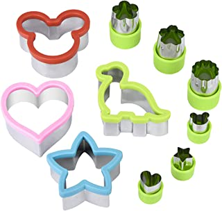 Hhyn Cookie Cutters for Kids 10 Pcs, Sandwich Cutters Include Mickey Mouse, Dinosaur, Star, Heart and Vegetable Cutter Shapes for Holiday and Party