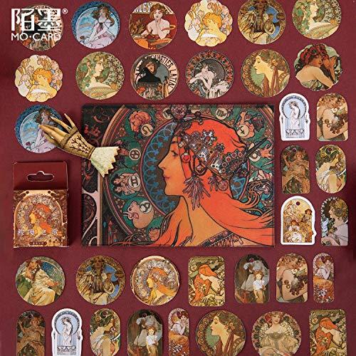 Middeleeuwse Beroemde Schilderijen Mu Xia Song Creatieve Retro Hand Boek Decoratie Universele Seal Stickers 46 Vellen