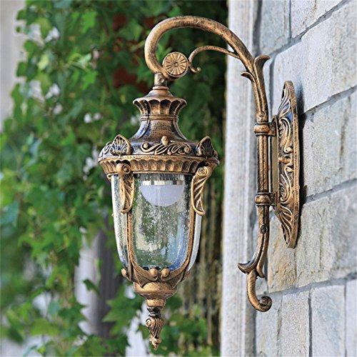 LightSeiEU Al Estilo Europeo Villas Pared Exterior jardín al Aire Libre luz del Pasillo de la lámpara de rocío balcón Luces a Prueba de Agua (Color : Bronceador)