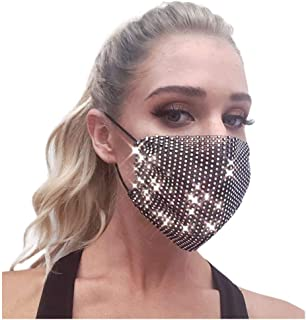 WIWN Fashionable Face 𝗠𝗮𝘀𝐤 Double layer Sparkly Rhinestones Mesh Madsk Crystal Masquerade Halloween Msaks Women and Girls