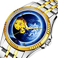 時計、機械式時計 メンズウォッチクラシックスタイルのメカニカルウォッチスケルトンステンレススチールタイムレスデザインメカニ (ゴールド)-493. ファンタジーメンズステンレススティールブレスレットウォッチ