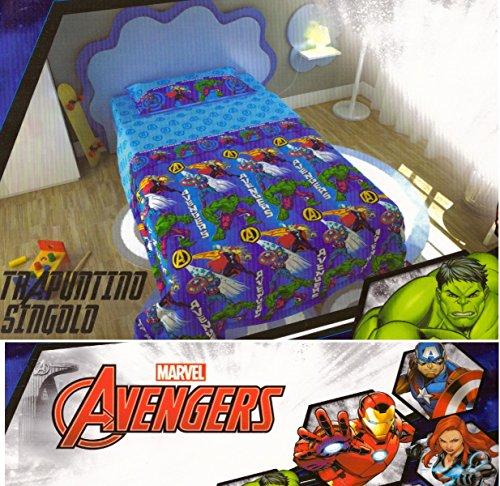 Russo Tessuti Copriletto Trapuntato Trapuntino Letto Singolo 1 Piazza Avengers Marvel Disney