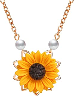 Bracet Sweet Sunflower Pearl Leaf Pendat Necklace Resin Daisy Flower Clavicular Chain Fashion Jewelry for Women
