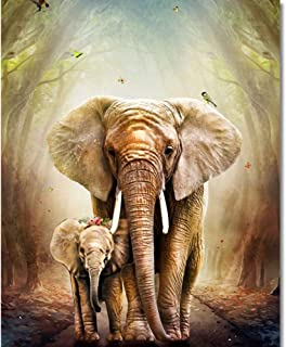 TUMOVO Paint by Numbers for Adults, Elephants Painting by Numbers for Adults, DIY Paint by Numbers for Kids Exercise, 16x2...