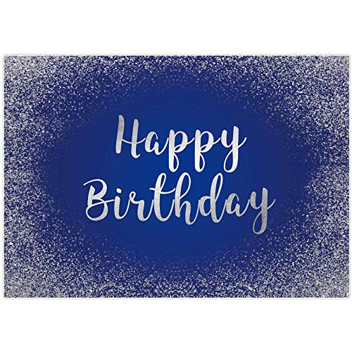 Allenjoy 7x5ft Royal Blue and Silver Happy Birthday Backdrop Adults Mans Boys Bday Glitter Spots Photography Background Party Banner Table Wall Decorations Photography Photo Shoot Booth Studio Props