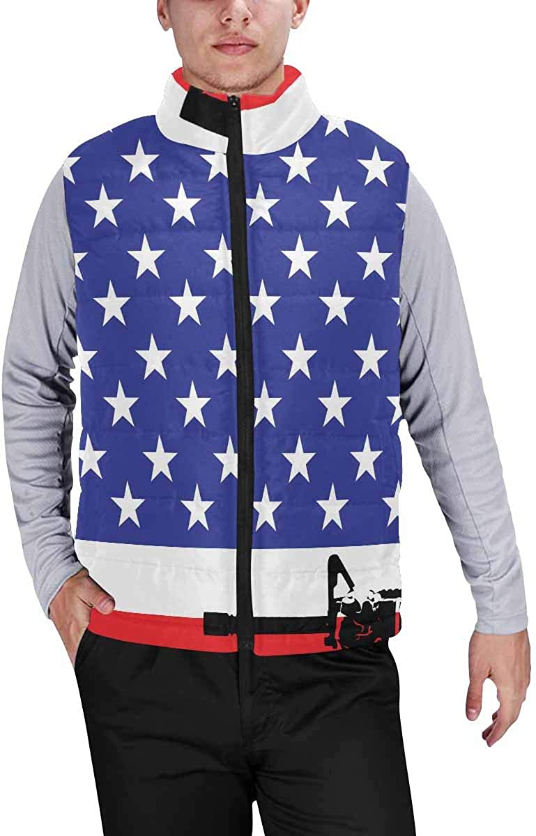 InterestPrint Men's Winter Full-Zip Outwear Padded Vest Coats US Marine in Front of the USA Flag XS
