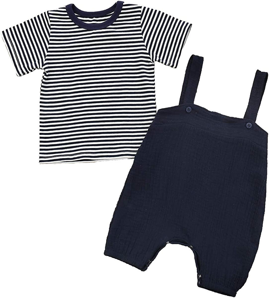 Yokidi Newborn Baby Boy Stripe Top Shirt + Suspender Overalls Playsuit Romper Summer Pants Set
