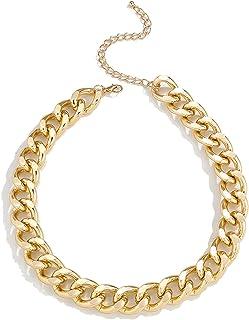 INENIMARTJ Punk Thick Chain Cuban Necklace Hip-hop Choker Chain for Men and Women