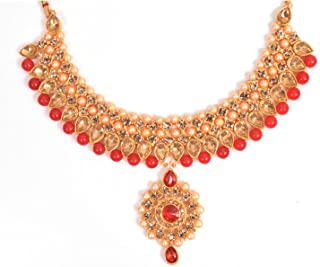 Trendy Kundan Red Wedding Gold Plated Jewellery Necklace Set With Earrings, Maangtikka For Women And Girls