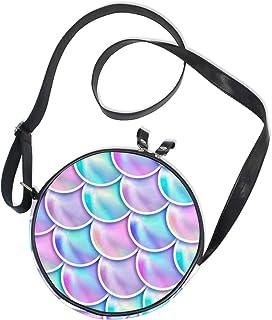 Emoya Damen Handtasche/Handtasche mit Meerjungfrau-Waage, rund, aus Segeltuch, Lila