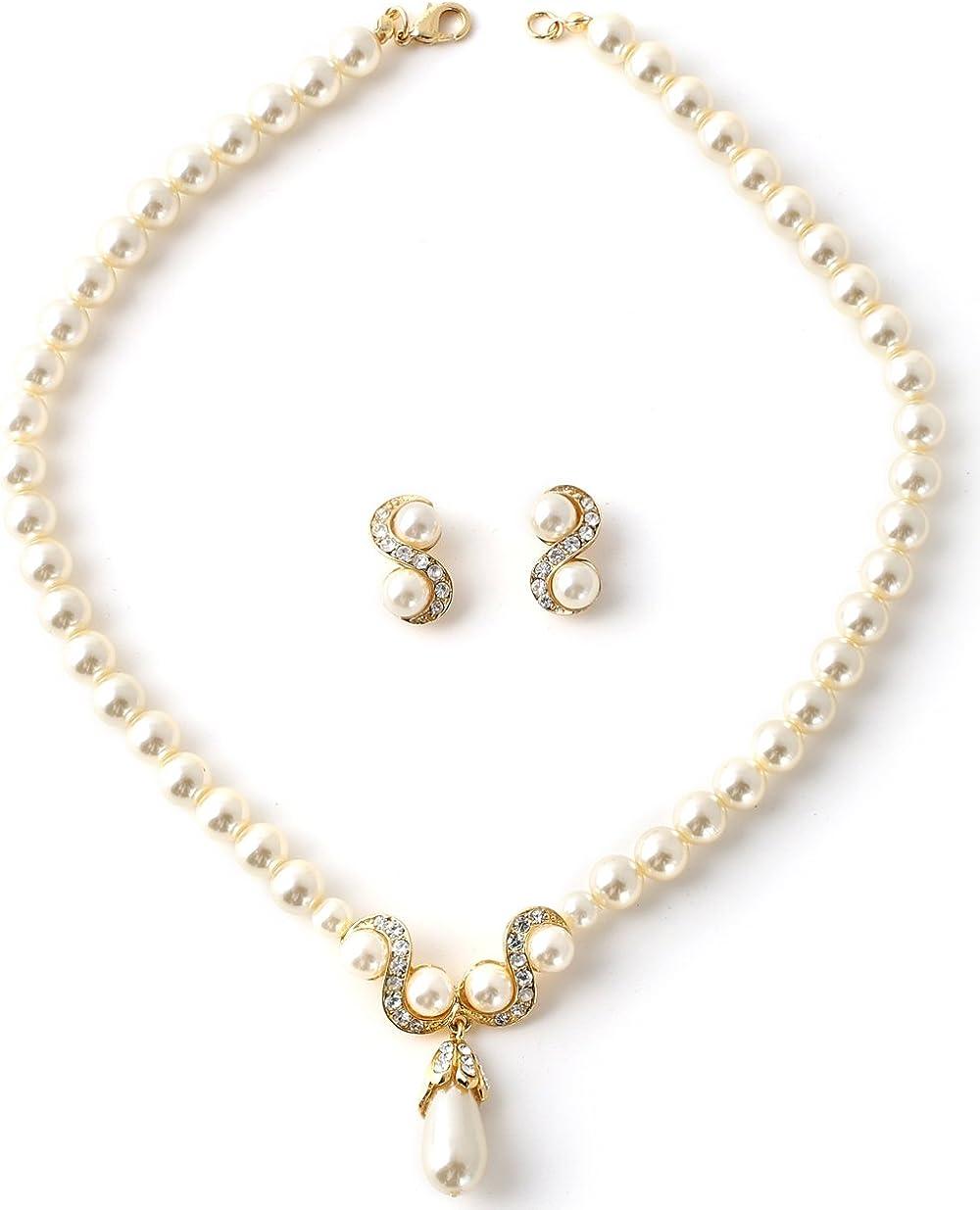 Topwholesalejewel Gold Cream Pearl Chain and Crystal Rhinestone with Dangle Cream Pearl Necklace and Crystal Rhinestone Swerve and Cream Pearl Earrings Jewelry Set