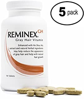 ReminexGH Gray Hair Vitamins - Hair Treatment Reverts Hair To Original Color - Herbal Ingredients Prevent Thinning Hair To Enhance Hair Strength (5 Bottles)