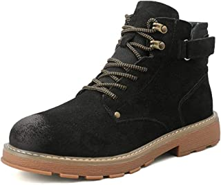 2019 Mens New Lace-up Flats Mens Combat Boots for Men Outdoor High Top Shoes Round Toe Lace Up Leather Casual Burnished Style Back Hook&Loop Strap ANI-Slip Comfortable (Color : Black, Size : 6 UK)