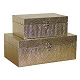 MODE HOME Golden Leather Kitchen Storage Boxes Fashion Jewelry Wooden Boxes Waterproof Set of 2
