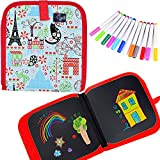 T-Antrix Kids Erasable Doodle Book Set, Reusable Drawing Pads, Preschool Travel Art Toy Scribbler Board for Travel, Road Trip, 14 Pages for Funny Drawing with 12 Watercolor Pens (Red/Eiffel)