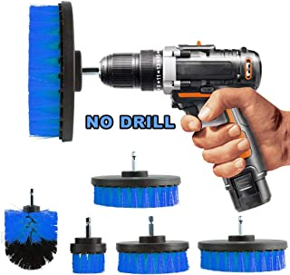 Oeyal 5 Pieces Drill Brushes Bathroom Cleaning Supplies Drill Brush Attachment All Purpose Power Scrubber Cleaning Kit for Tub, Shower, Tile and Grout, Blue