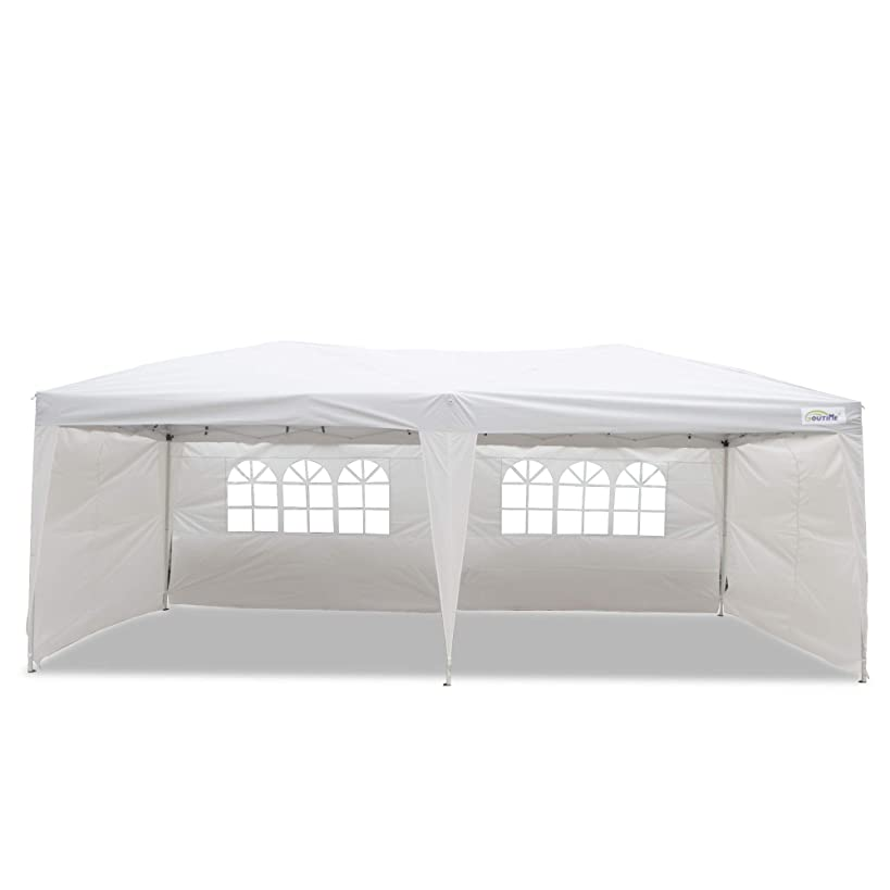 Goutime 10x20 Ft Ez Pop Up Canopy Tent with 4Pcs 10Ft Removable Sidewalls and Wheeled Bag for Outdoor Party Events