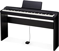 Casio PX160BK 88 Key Touch Sensitive Privia Digital Piano Bundle with Tri-Sensor Scaled Hammer Action in Black with Digital Piano Stand and Pedal
