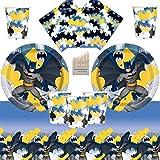 Batman Party Supplies Set da tavola per Feste di Compleanno di Knight Dark Knight Batman 16 Ospiti - Tovaglietta per tovaglioli di Tazze da tavola Superhero