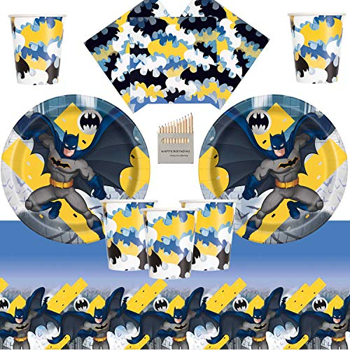 Batman Party Supplies Dark Knight Batman Geburtstagsparty Geschirr Pack 16 Gäste- Einweg Superheld Teller Tassen Servietten Tischdecke