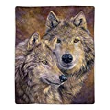"""Lavish Home Sherpa Fleece Throw Wolf Print Pattern, Lightweight Hypoallergenic Bed or Couch Soft Cozy Plush Blanket for Adults and Kids, 60"""" (L) x 50"""" (W), Multicolor"""