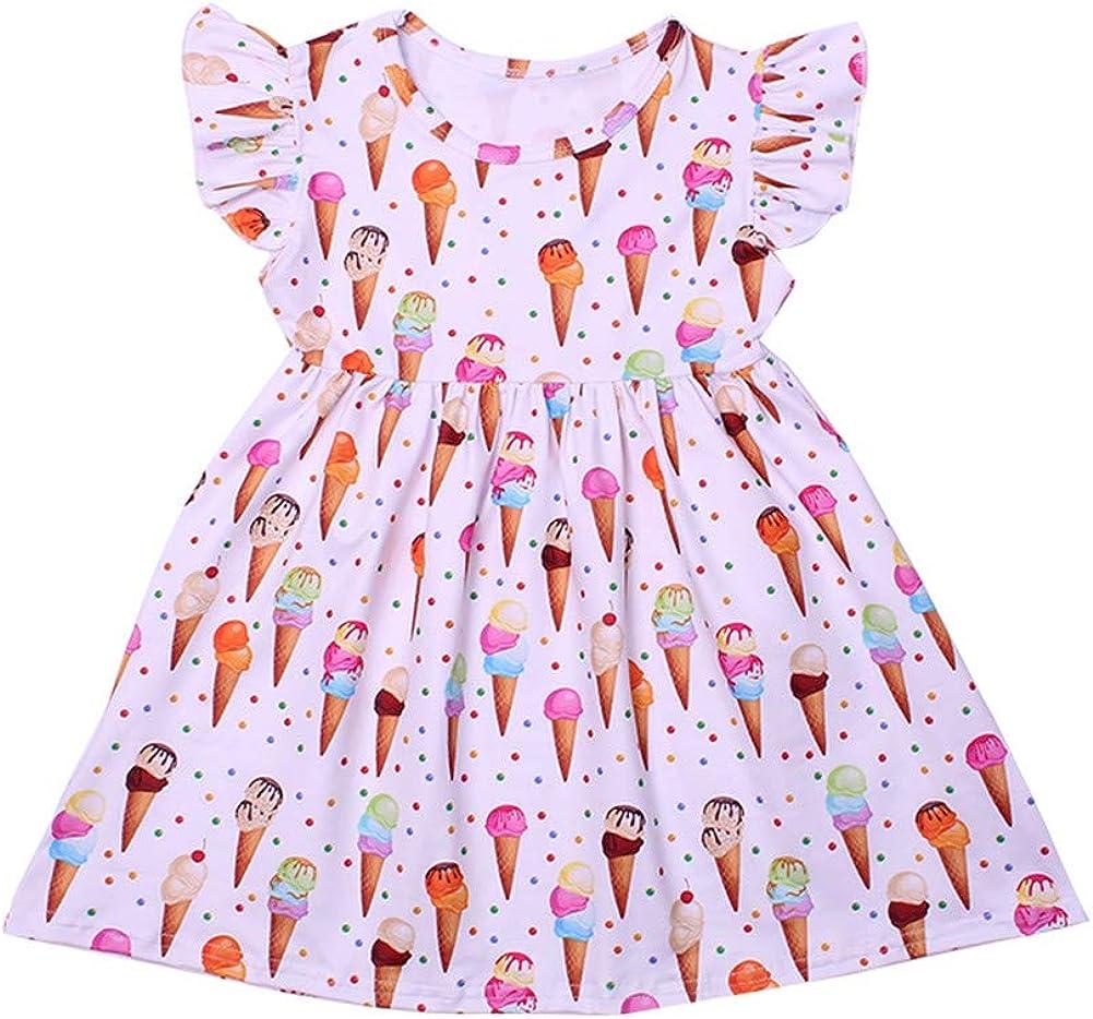 Toddler Girls Summer Ice Cream Print Sleeveless Dress Kids Cute Skirt
