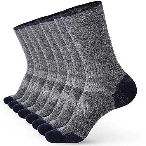 Pembrook Wool Sport Socks - S/M (4-Pack Navy) - Soft, Warm, Thermal Merino Wool – Technical Cushion and Support Features - Great for hiking, work, skiing, hunting. Sized for Men and Women.