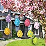 VictoryStore Yard Sign Outdoor Lawn Decorations - Easter Lawn Display, Flat Hanging Eggs Set, Set of 32 12412 (Corrugated Plastic)