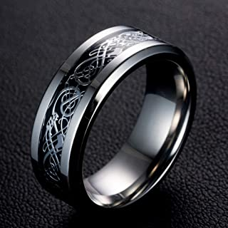 TreasureLandJewelry Two Tone Celtic Knot Dragon Inlay Couples Titanium Wedding Band Rings for Men for Women Comfort Fit - ...