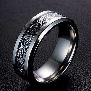 TreasureLandJewelry Two Tone Celtic Knot Dragon Inlay Couples Titanium Wedding Band Rings for Men for Women Comfort Fit - ...