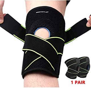 Greententljs Pair of Knee Brace Holder with Side Stabilizers - Adjustable Strap Breathable Knee Brace Patella Gel Pads for Knee Support (2 PCS, Green)