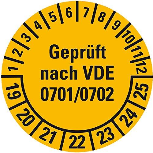 LEMAX® Prüfplakette Geprüft n.VDE 0701/0702,19-25,gelb,Dokufolie,Spezialkl.,Ø 30mm,18/Bogen
