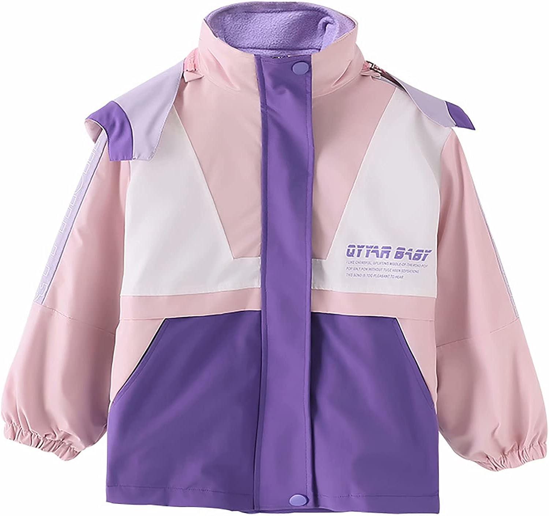 Girls Rain Jacket Hooded Raincoat Girls Outerwear Windbreaker with Fleece Lined Kids 3-in-1 Coats