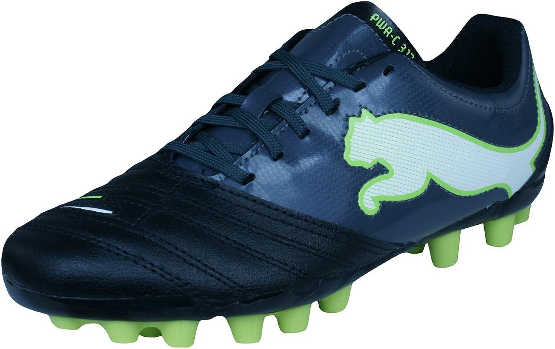 PUMA Powercat 3.12 R MG Boys Leather Football Boots Cleats - Black