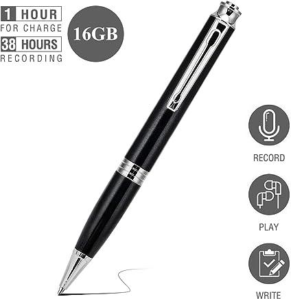 Grabadora de Voz Espia Digital Portátil - 16G 192 Horas de Capacidad, Voice Recorder Bolígrafo