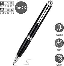 Grabadora de Voz Espia Digital Portátil - 16G 192 Horas de Capacidad, Voice Recorder Bolígrafo - 38 Horas de Duración de la Batería, MP3, Reducción de Ruido, Spy, Recargables (Negro)
