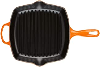 """Le Creuset Enameled Cast Iron Signature Square Skillet Grill, 10.25"""", Flame"""