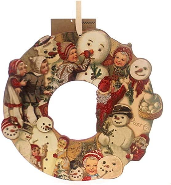 果格林圣诞复古花环雪人木头原始圣诞节 29564
