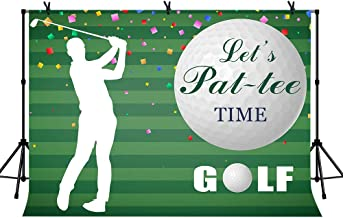 LYLYCTY 7x5ft Golf Party Backdrop for Golf Opening Ceremony Golf Course Stripe Par-Tee Background Grand Party Photography Backdrop LYZY0823