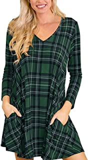 Women's Long Sleeve V Neck Multi Plaid Striped Casual Swing Tunic Dress with Pockets