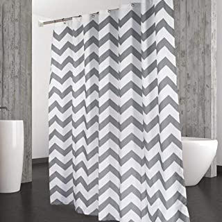 CAROMIO Shower Curtain Water Repellent Striped Chevron Fabric Curtains For Bathroom Geometric 72