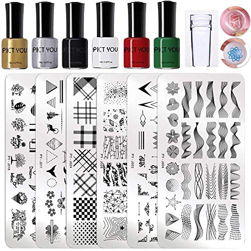 PICT YOU Nail Art Stamping Tool Kit 6Pcs Stripe Image Stamp Plate with 6 Bottles 8ml Classic Stamping Polish Nail Stamper and Scrapers DIY Nail Art Design