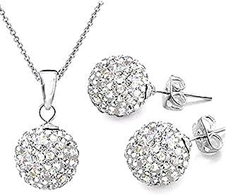 Xiaotang444 - Set di collana e orecchini a bottone 10 mm da donna stile sfera specchiata, argento Sterling 925, Argento, c...