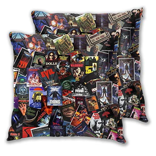 Granbey Horror Pillow Case Spooky Halloween Pillow Covers Horror Movie Decor Cushion Covers 18 x 18 Set of 2 Decorative Square Pillowcase for Living Room Sofa Bedroom Movie Room