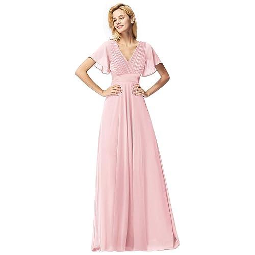 3bfa721c50c Ever Pretty Women s Double V-Neck Short Flutter Sleeves Empire Waist Long  Evening Dresses 09890