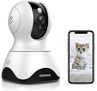 Yeskamo Cámara de Vigilancia Cámara WiFi inalámbrica 1080P Cámara de Seguridad IP Interior Audio Bidireccional Detección de Movimiento HD Visión Nocturna Notificación de Alerta