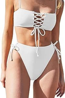 QINSEN Women's Spaghetti Strap Bandeau Lace Up High Waist 2PCS Bikini Set Simsuit