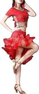 Qianliniuinc Kids Latin Dance Sequined Costume - Girls Leotard Dress Professional Dancing Dress Belly Dance Rumba Samba Sa...